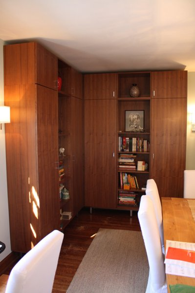 Walnut ply dining room cabinets.