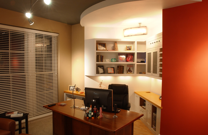 Custom office cabinets. Lots of pull-outs and clever storage.