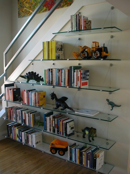 Floating glass shelves, Lynn\'s place.