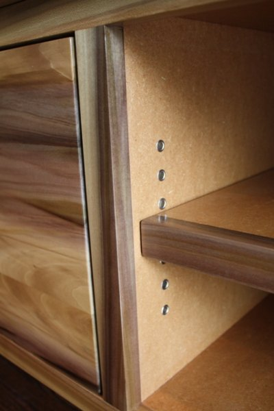 Cabinet for neighbor built from locally harvested urban poplar and MDF. (Detail)