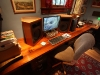 Our home office. Note reclaimed poplar countertops. Speakers are solid douglas fir.