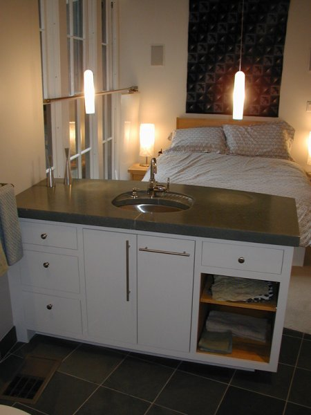 Master vanity and concrete countertop, Pat\'s place.