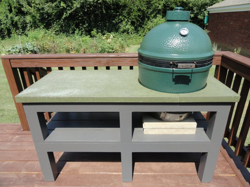 Big Green Egg table: Painted wooden base with green polished and oiled concrete top. Photo by Mandy Hoge.