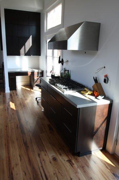 Large kitchen concrete countertop job. All standard grey, polished.