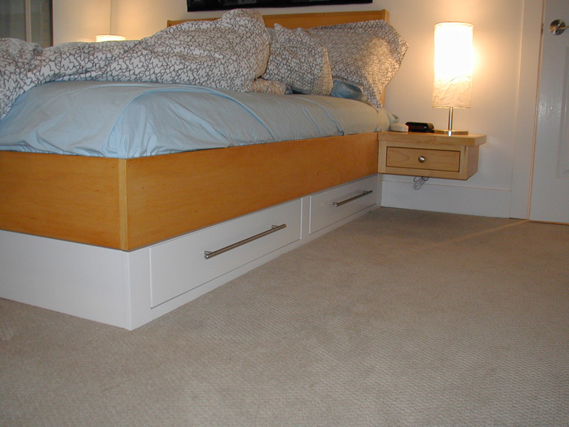 Platform bed with storage underneath. Pat\'s place.