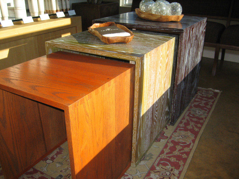 Nesting solid oak tables built for Joseph\'s Salon.
