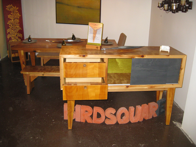 Furniture built from old solid-core doors.
