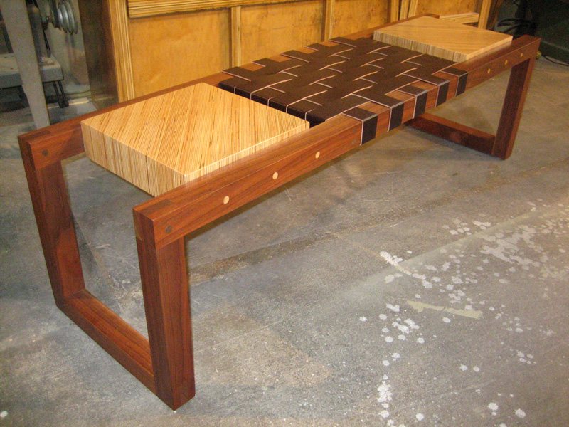Bench built from reclaimed walnut, scrap plywood and leather.
