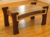 Coffee table built from reclaimed oak that has been cerused two different colors.