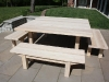 Table and benches made from solid cypress.