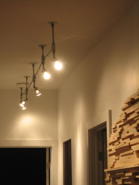 Light fixture built out of plumbing hardware, wire and light sockets.