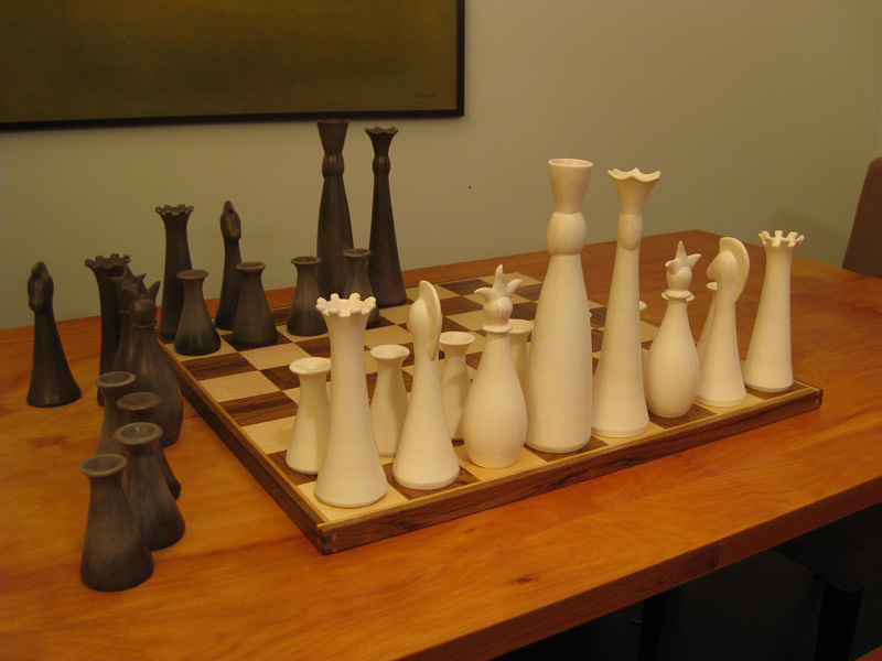 Custom chess board built out of solid birch and teak.