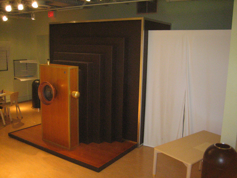 Giant (8 by 8 by 8 feet!) camera built for photo exhibition at Speed Art Museum.