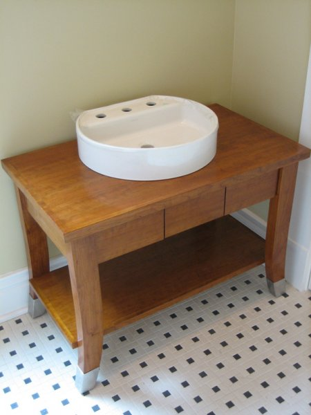 Solid cherry vanity built for the Randolph House.