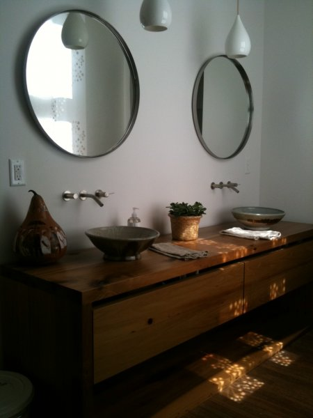 Two person vanity with two big drawers. Built from reclaimed poplar.