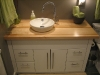Guest room vanity at Pat\'s place. Solid maple butcher block top.