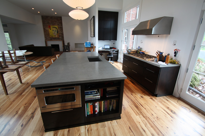 Concrete Countertop Kitchens With White Cabinets